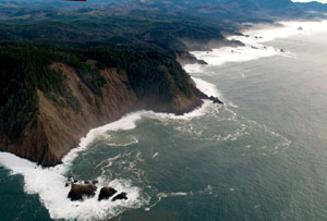 An aerial view of tall rocky cliffs frothing the pounding surf into a white foam.