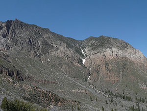 A panorama of greyish green mountains under a blue sky.