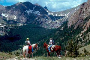 Two riders on horseback, looking out over a high forested valley, with rocky mountains on all sides.