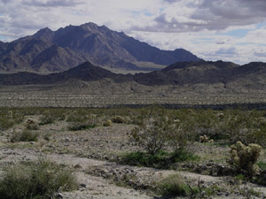 This dreary desert is flanked by dark, bruise colored mountains.
