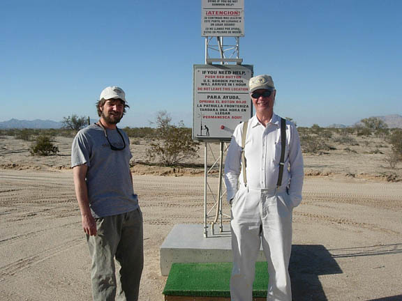 This is Curt and Fred Goodsell, a refuge volunteer who drove us to our starting point. They are standing next to an emergency beacon placed by Border Patrol in the desert.