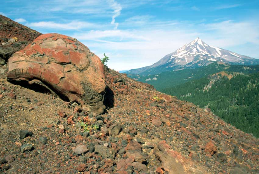 Looking past a large boulder on a barren rocky slope, to a tall snowcapped pyramidal peak, rising alone from the forest floor in the distance.