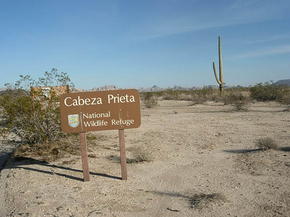 Entrance sign at the western Edge of the Cabeza Prieta National Wildlife Refuge.