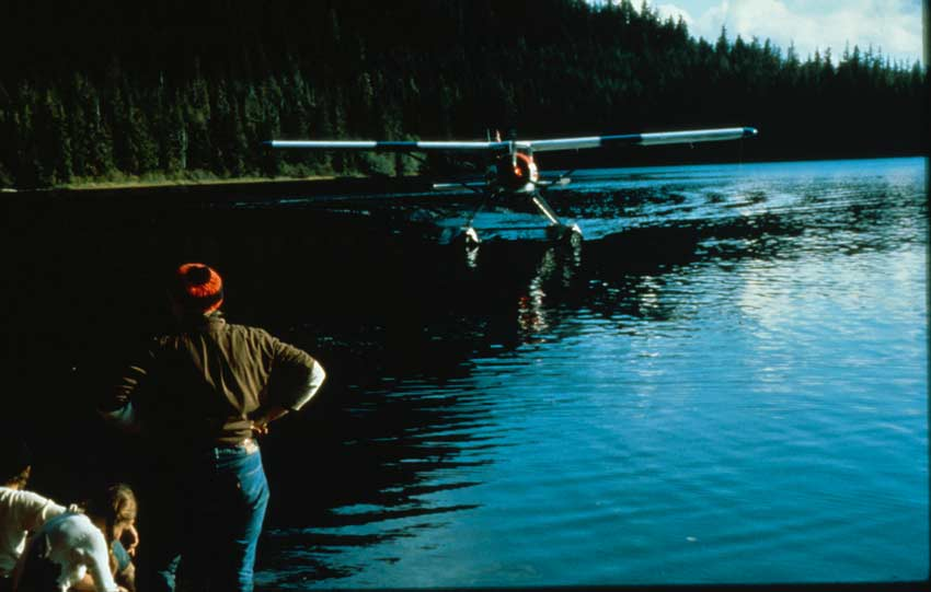 A floatplane taxiing across a placid lake, towards a person standing at the waters edge.