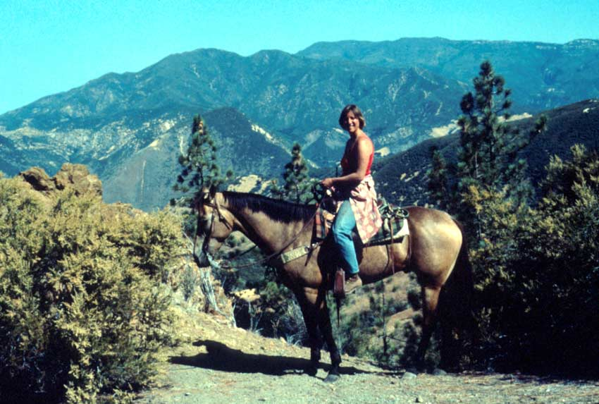 A woman sitting on horseback, viewing out towards mountains in the distance.
