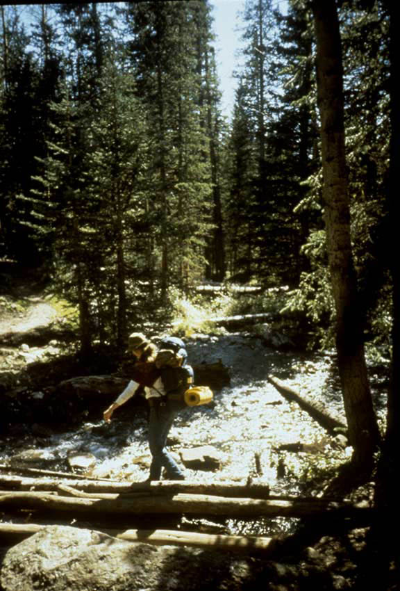 A backpacker carefully crossing a small stream, on a bridge of several logs.