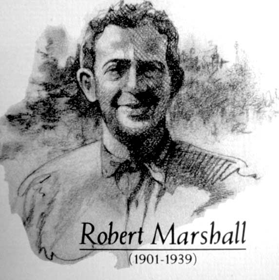 A black and white drawing of Robert Marshall.
