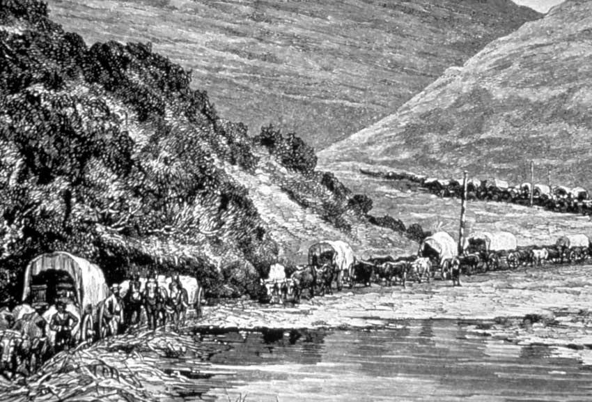 A black and white drawing of a historic wagon train.