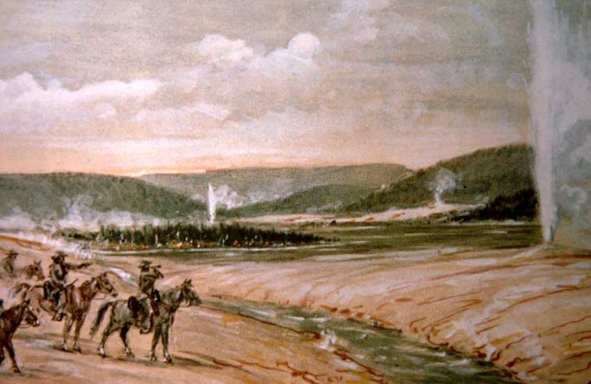 A color painting of an expedition on horseback, surrounded by geysers.