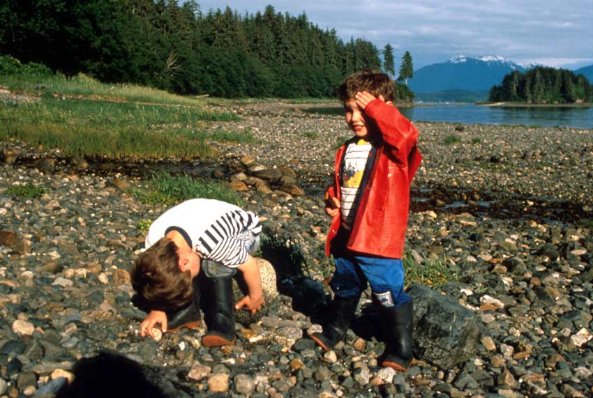 Two young boys in colorful jackets, standing along a rocky beach surrounded by tall forest trees. A small island in the distance is backed by tall snowcapped mountains beyond.