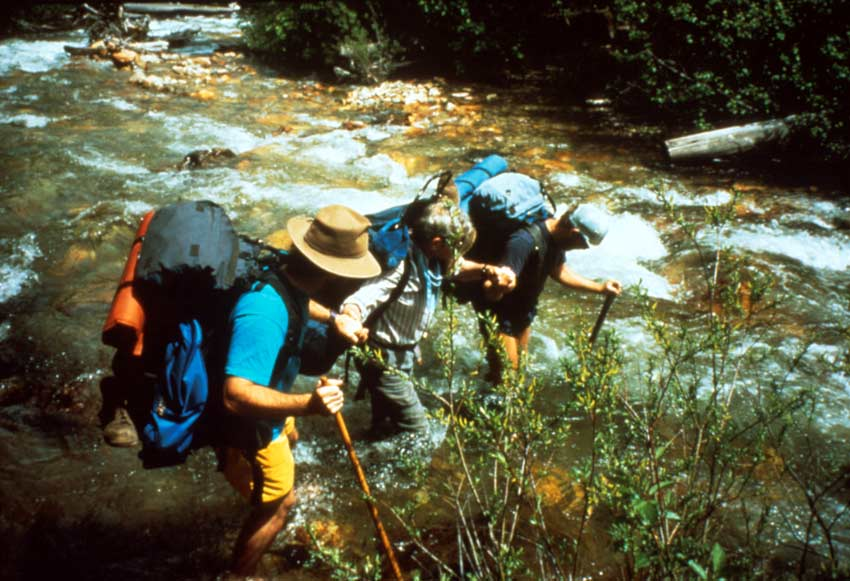 Three backpackers joining arms to carefully cross a small rushing stream.