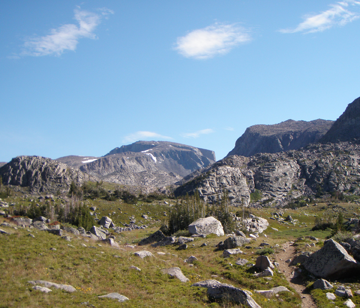 A trail winds through  a rocky field with mountains peaks in the distance.