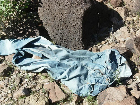 A pair of blue-jeans left behind by migrants.