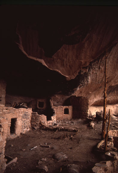In Keet Seel, Navajo National Monument a pueblo structure indicates the archeological value of the area.