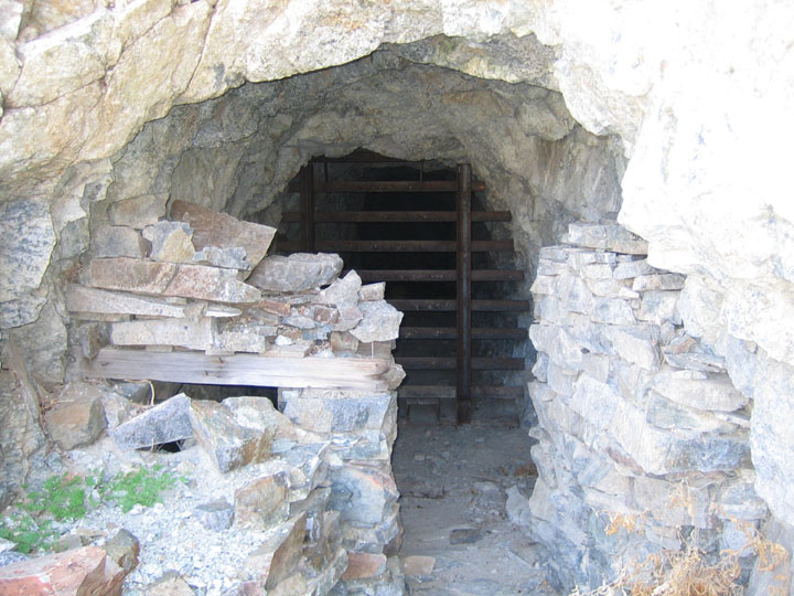 A bat gate, blocking off the entrance to the Empire Mine shaft.