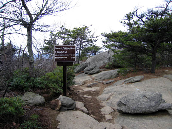 A sign communicates information and indicates that this area is the Old Rag Mountain in the Shenandoah Wilderness.