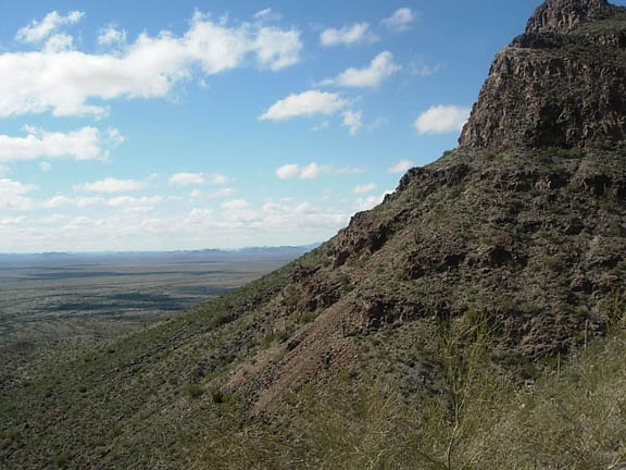 Looking west over the Growler Valley. Few clouds scuttle across the sky on this sunny day.