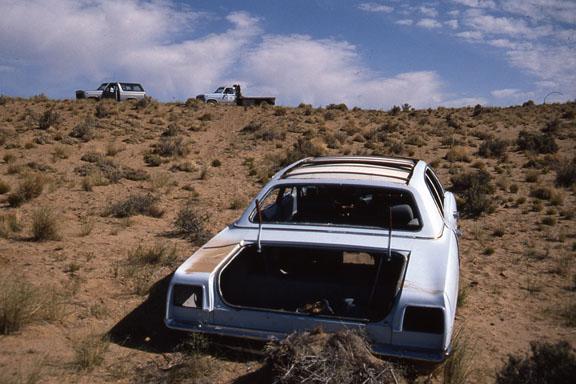 An abandoned car in the Bisti/De-Na-Zin Wilderness.