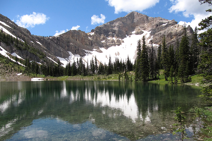 A lake in front of a snowy mountain