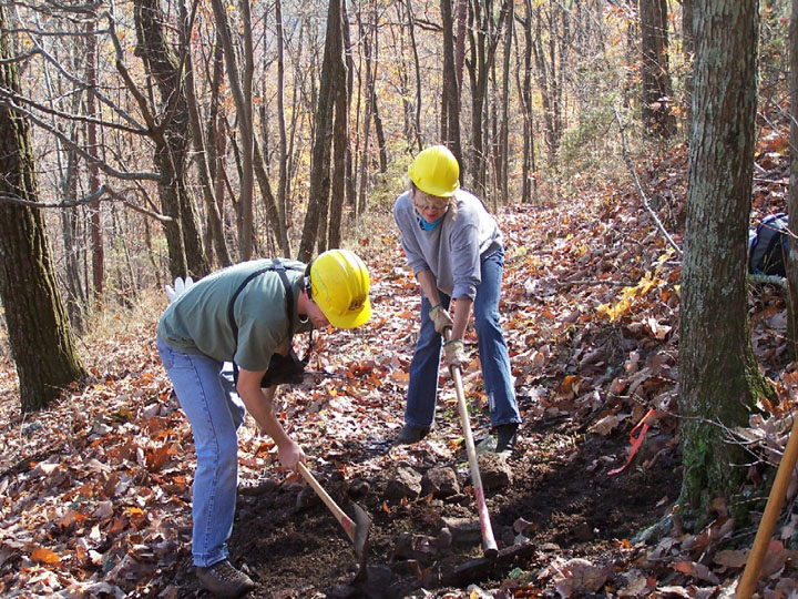 Two workers using hand tools to maintain a section forest trail.