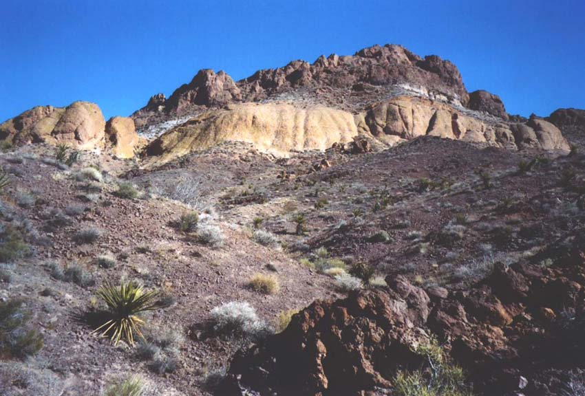 Looking up a large desert mountain slope. A few sparse plants dot the otherwise barren brown rock, reaching up to smooth cliffs above.