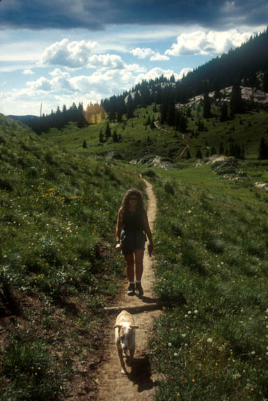 A hiker and her dog trek along the Crater Lake Trail. The landscape along the trail is green with wild grass and pine trees and the sun is bright, shining through several clouds.
