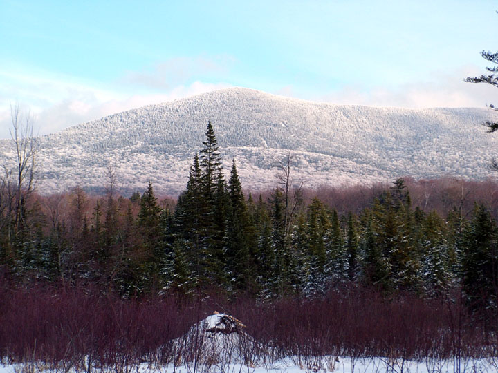 A tall forested hill blanketed in fresh white snow, rises above the lower forest.