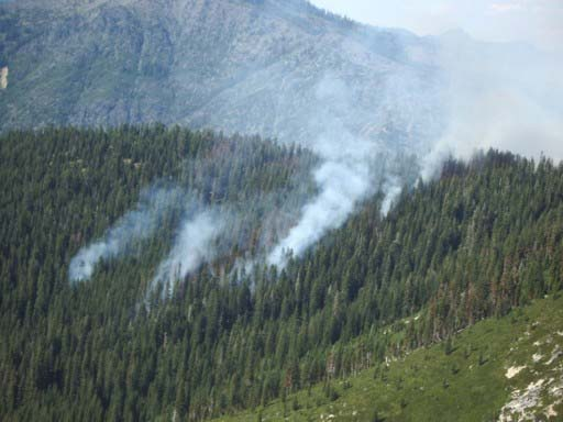 This photo captures a mountainside where smoke rises out of the forested area, indicating that small forest fires burn within the wooded area.