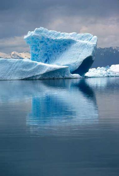 An iceberg sits at the edge of LeConte Bay. The water mirrors the iceberg, which looks like a frozen blue wave of ocean water.