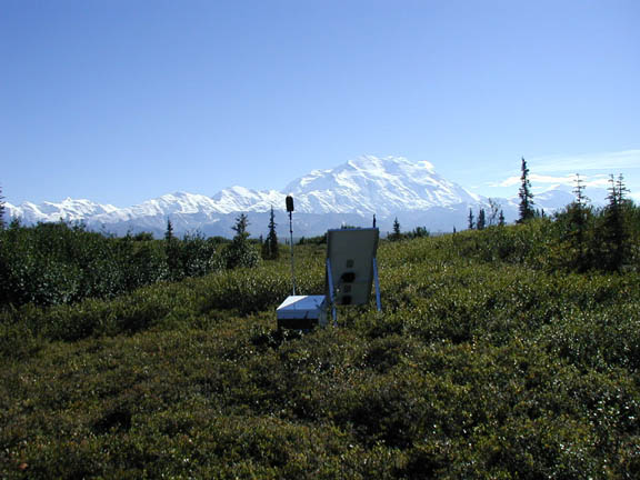 Sound monitoring euipment  near Wonder Lake within view of Denali. In the distance is a long, mountain range topped with snow.
