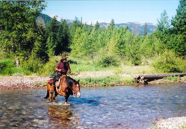 A horse and rider cross a river