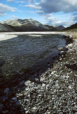 A creek runs through a rocky valley at the base of several hills.