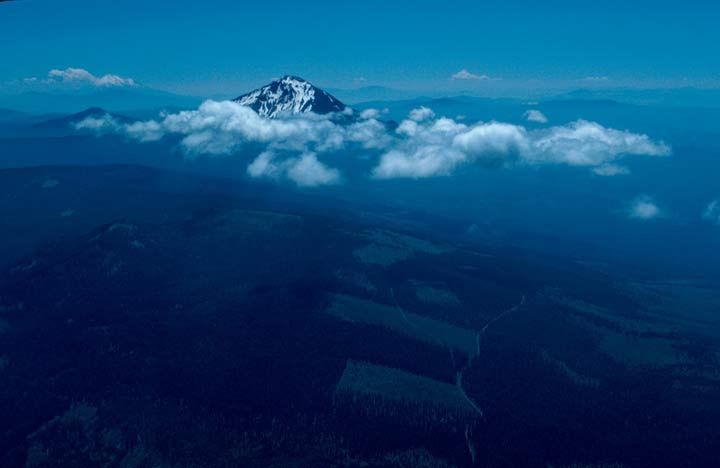 An aerial view looking down over a checkerboard forest near a tall snowcapped peak, surrounded by puffy clouds.