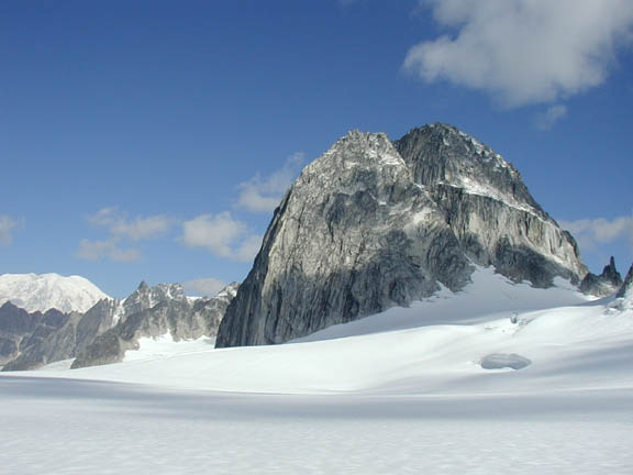 The view from the Pika Glacier captures the tops of rock edifices sprouting out of the snow.