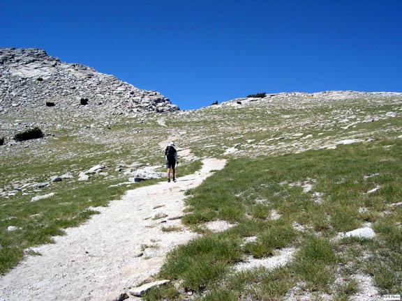 A backpacker utilizes an informal trail developing along Mt. Hoffman.