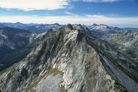 A sharp treeless ridge as seen from the air.