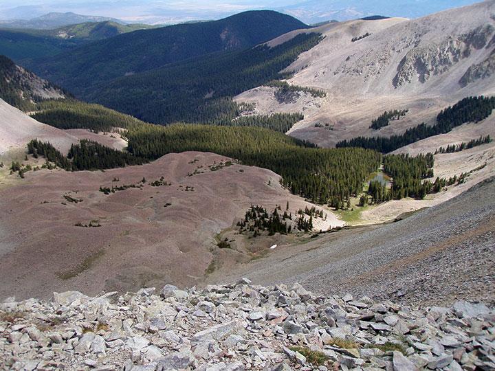 A forested basin lies far below barren alpine rocks