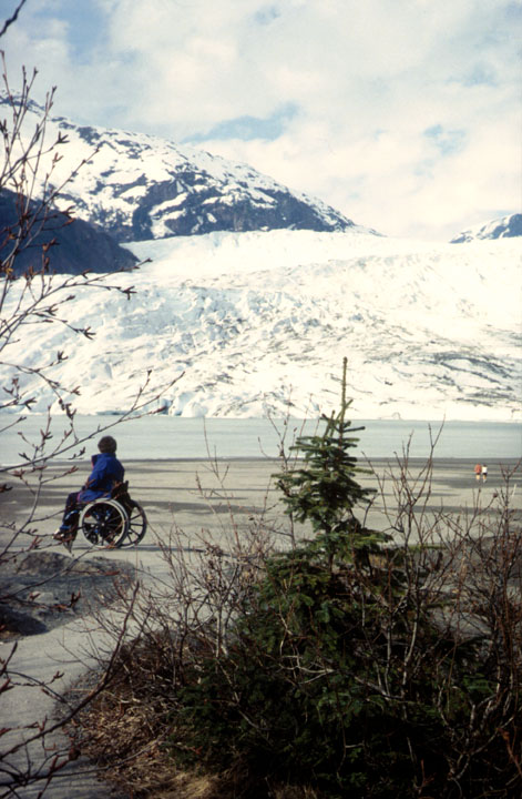A visitor in a wheelchair views the Mendenhall Glacier.