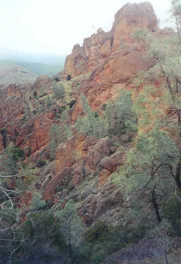 A ridge of orange sandstone pinnacles dotted with small green trees.