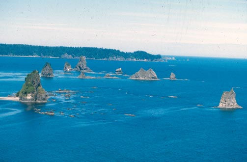 A cluster of small rocky islands, protruding from the blue water along the coast.