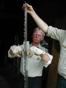 Two men inspect and sharpen the blade of a large hand saw.