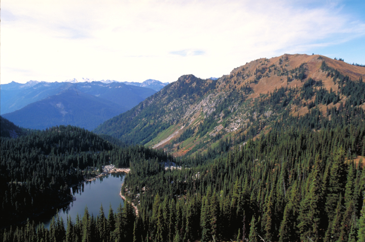 Looking down over a wide, forested valley, the eye is drawn first to a dark lake in the foreground.  The golds and greens are subdued in the light of gray sky.