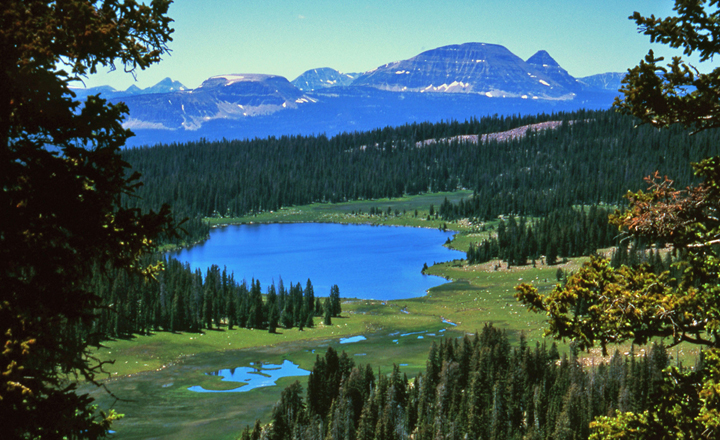 A large sky-blue lake surrounded by trees and green meadows sits below as large mountains rise up along the horizon.