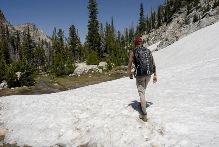 A lone hiker traveling down an alpine forest trail over a section of snow.