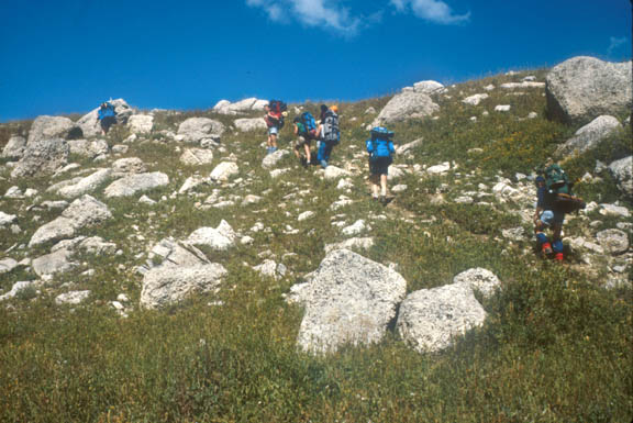 Hikers traversing the side of a hill/mountain in the Beartooth Range, on the side of Beartooth Butte.