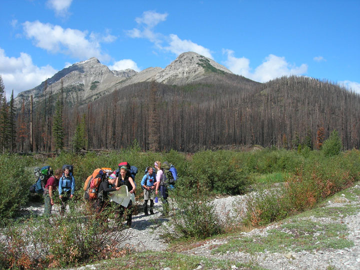 The members of the University of Montana's Wilderness and Civilization Field Studies Fall 2008 Trek cluster on a trail in the Bob Marshall Wilderness.