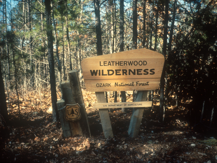 The entrance sign to the Leatherwood Wilderness, Ozark National Forest.
