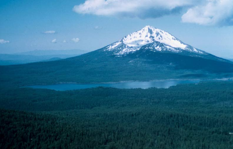 A lone snowcapped peak rises high above the dense forest surrounding a large lake at its base.