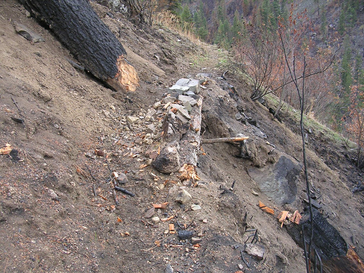 Trail damage from the 2007 Dog Fire on the Selway River Trail.  Repair job is temporary.