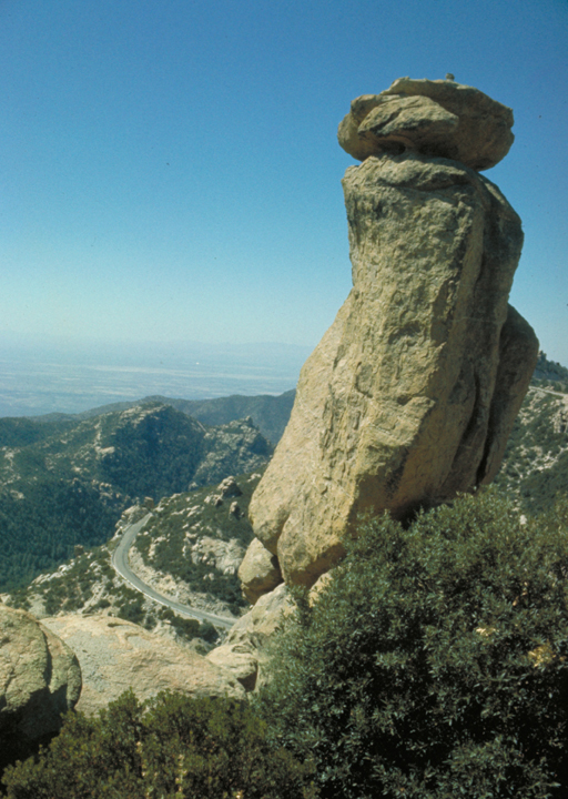 A monstrous rock pillar is crowned by a flatter piece of sandstone.  Bushes surround the base. Curving off in the background is a roadway.